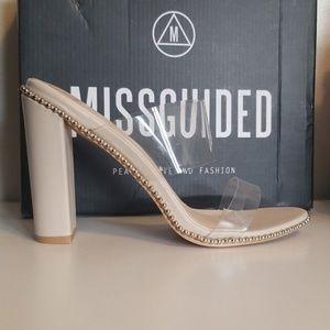 Clear beige heels